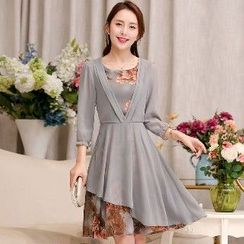 Romantica - Elbow-Sleeve Layered Chiffon Dress