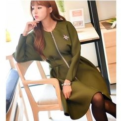Dowisi - Long Sleeve A-Line Neoprene Coatdress