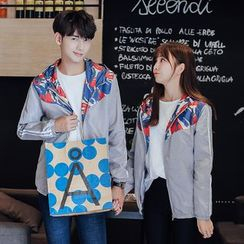 TOOI - Couple Matching Printed Panel Zip Jacket