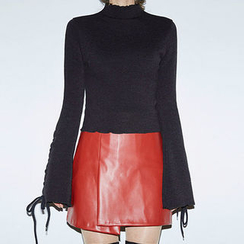chuu - Wrap-Front Faux-Leather Mini Skirt