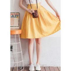 Chlo.D.Manon - Linen Blend A-Line Skirt