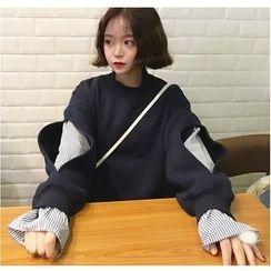 时尚麻豆家 - 假两件条纹拼接套衫