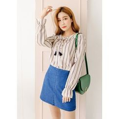 J-ANN - Washed A-Line Denim Mini Skirt