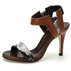 MODELSIS - Snake-Skin Print Genuine Leather Sandals