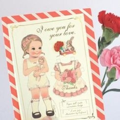 iswas - 'Paper Doll Mate' Series Thank You Card with Brooch