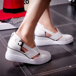 JY Shoes - Cutout Hidden Wedge Loafers