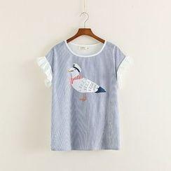 Mushi - Printed Stripe Ruffle Trim Short-Sleeve T-Shirt