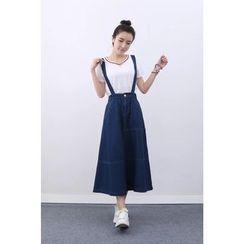 Aigan - Stitch-Accent Denim Jumper Skirt