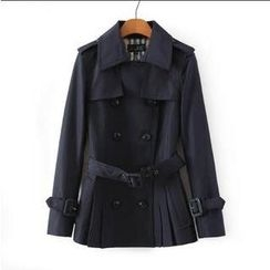 JVL - Belted Pleated Trench Coat