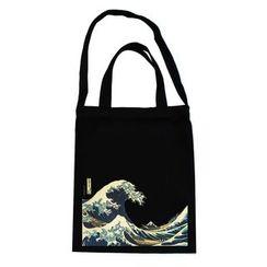 布布and包包 - 海浪图案帆布手提包