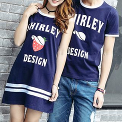 Igsoo - Couple Matching Lettering Short Sleeve T-Shirt / Strawberry Print Tank Dress