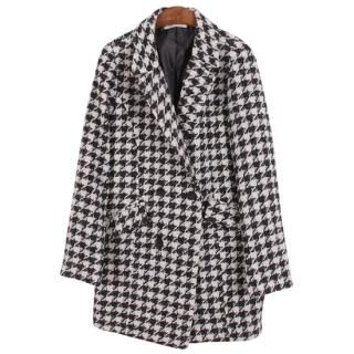 Ho Shop - Houndstooth Double-Breasted Coat