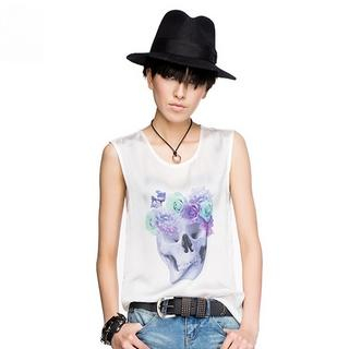 Othermix - Skull-Print Sleeveless Top