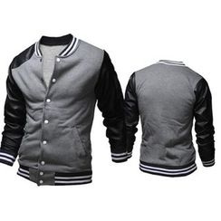 Blueforce - Faux Leather Sleeve Baseball Jacket