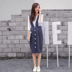 missyozi - Buttoned Suspender Skirt