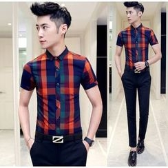 Besto - Plaid Short Sleeve Shirt