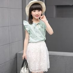 Famula - Set: Flutter Sleeve Top + Lace Skirt