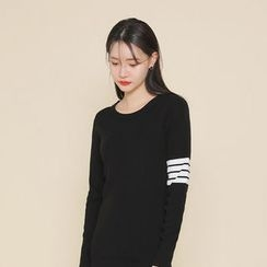 Envy Look - Striped-Sleeve Knit Dress