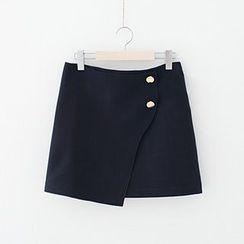 Meimei - Asymmetric Buttoned Skirt