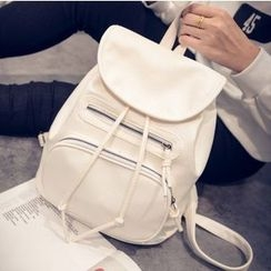 Crystal - Drawstring Faux Leather Backpack