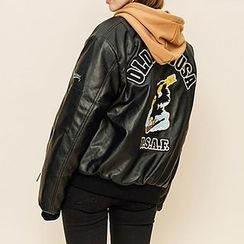 Heynew - Embroidered Faux Leather Jacket