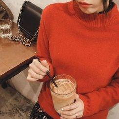 mimi&didi - Mock-Neck Wool Blend Knit Top