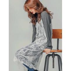 LOLOten - Spaghetti-Strap Sheer Lace Long Dress