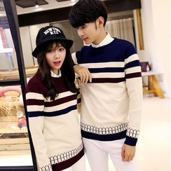 Evolu Fashion - Couple Matching Striped Sweater