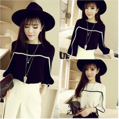 Whitney's Shop - Contrast Color Chiffon 3/4 Sleeve Top