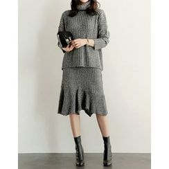 UPTOWNHOLIC - Set: Turtle-Neck Ribbed Knit Top + Ruffle-Hem Skirt