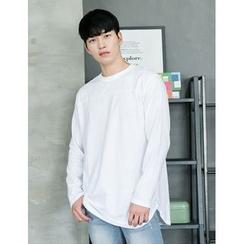 STYLEMAN - Round-Neck Slit-Side T-Shirt