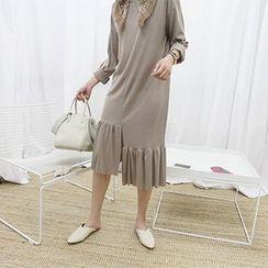 MARSHMALLOW - Maternity Ruffled Asymmetric-Hem Nursing Dress