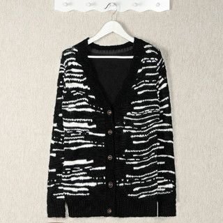 YesStyle Z - Wool-Blend Floral Panel Patterned Cardigan