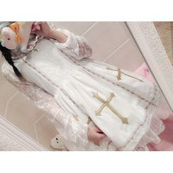 GOGO Girl - Cross Appliqué Long-Sleeve Lace Panel Dress