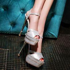 缤纷女鞋 - 踝带厚底扣带高跟鞋凉鞋