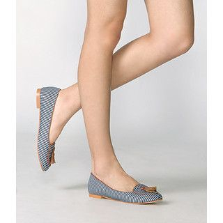 yeswalker - Tasseled Striped Canvas Flats