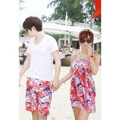 Shanyoo - Couple Matching Printed Swim Shorts / Set: Printed Camisole Top + Bikini