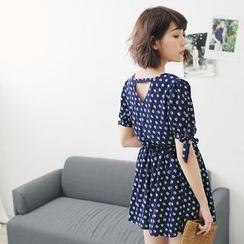 Tokyo Fashion - Short-Sleeve Floral Chiffon Dress