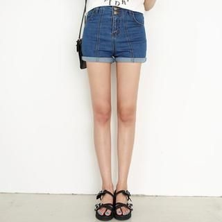 WHITE FOX - High-Waist Denim Shorts