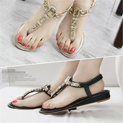 Reneve - Rhinestone T-Strap Flat Sandals