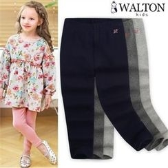 WALTON kids - Girls Star Embroidered-Lettering Leggings