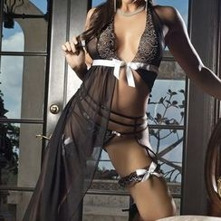 Dear Lover - Set: Lace Nightdress + Thong + Stockings