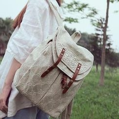 SUPER LOVER - Lace-Panel Stitched Backpack