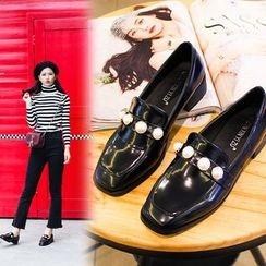 安若 - 仿珍珠粗跟樂福鞋
