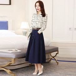 Jiuni - Set: Dotted Linen Cotton Blouse + Skirt