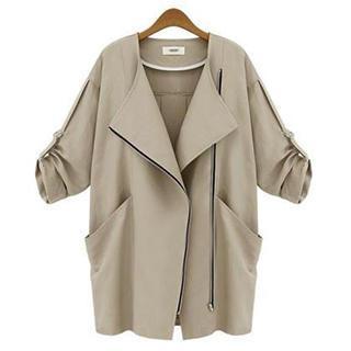Eloqueen - Tab-Sleeve Zip-Front Jacket