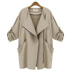 米蘭閣 - 扣帶袖前拉鏈外套