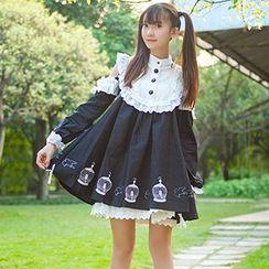 GOGO Girl - Long-Sleeve Shoulder Cut Out Frilled Dress