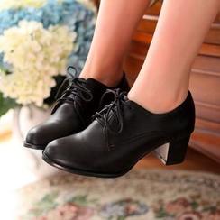 幸福鞋坊 - 粗跟繫帶鞋