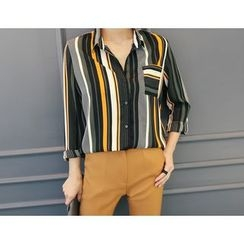 DANI LOVE - Pocket-Front Stripe Shirt